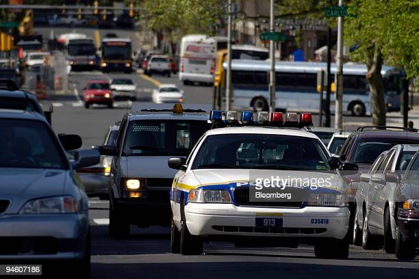 Philadelphia police patrol car drives up 19th Street in Philadelphia Pennsylvania on Thursday May 3 2007 Philadelphia whose name means city of...