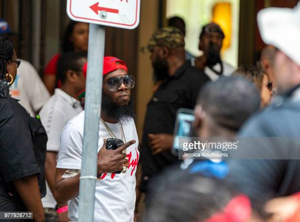 Philadelphia rapper Freeway attends a rally while rapper Meek Mill returns to court for a postconviction appeal on June 18 2018 in Philadelphia...