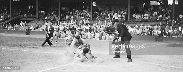 Scoring Winning Run For Cards Enos Slaughter St Louis outfielder crashes the ball out of the hands of Philadelphia catcher Tom Livingston to score...