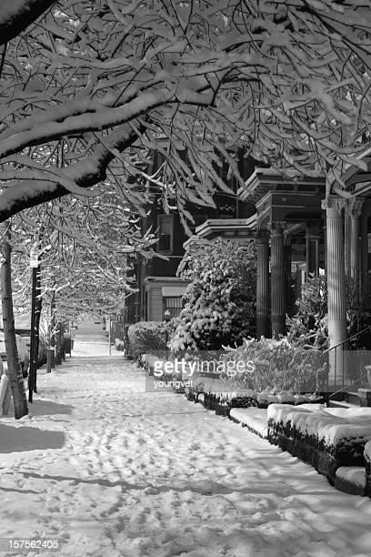Philadelphia sidewalk in snow