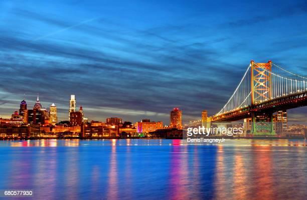 Philadelphia skyline along the banks of the Delaware River