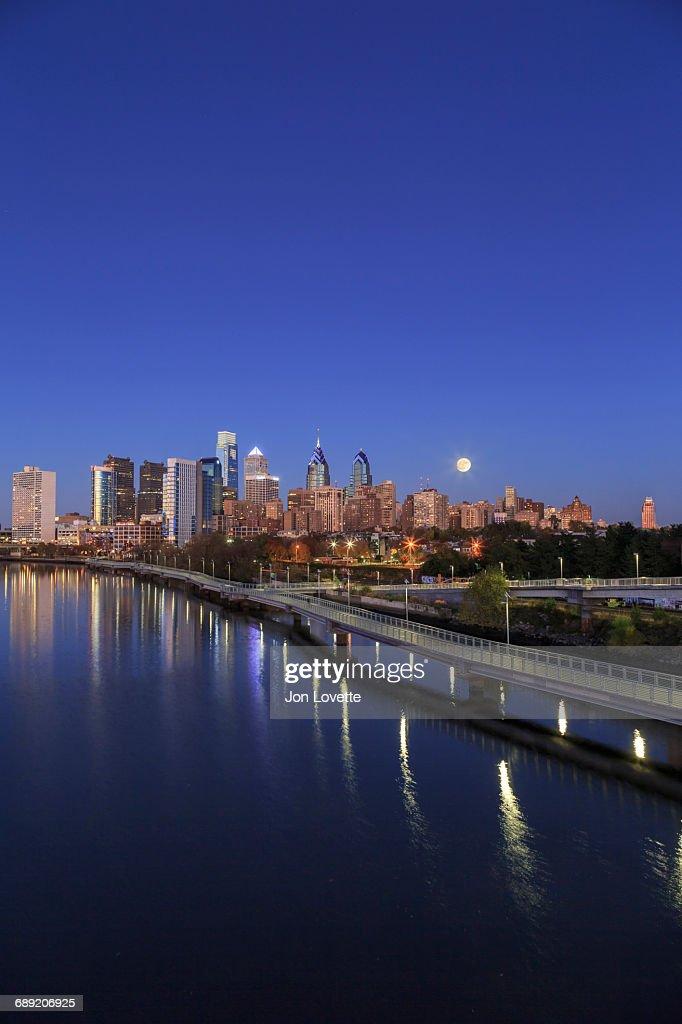 Philadelphia Skyline at Night : Stock Photo