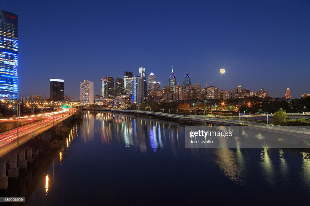 Philadelphia Skyline at Night : Stock Photo