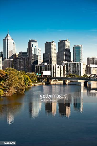 Philadelphia  skyline,flowering trees and financial district