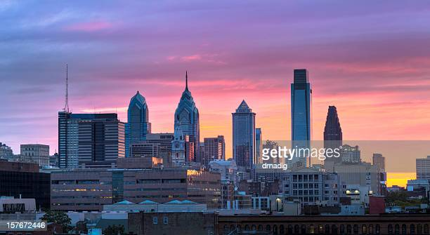 Philadelphia Sunset with Brilliant Colors over Skyscrapers