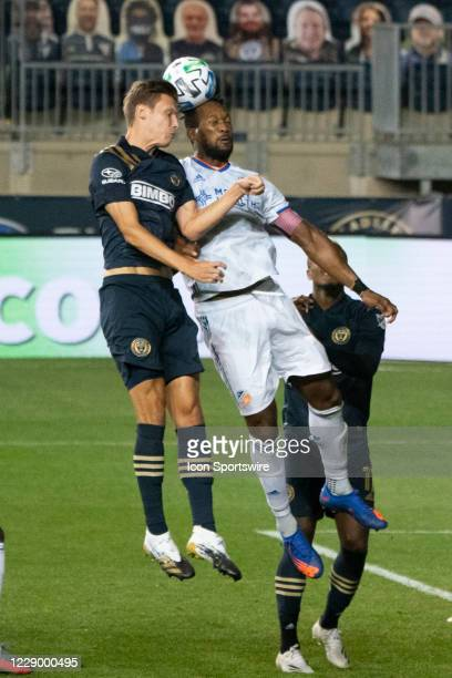 Philadelphia Union Defender Jack Elliott and FC Cincinnati Defender Kendall Waston during the second half of a Major League Soccer game between FC...