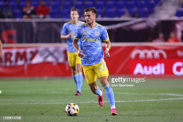 Philadelphia Union defender Kai Wagner controls the ball during the first half of the Major League Soccer game between the New York Red Bulls and the...