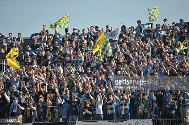 Philadelphia Union fans cheer before the game against the Colorado Rapids at PPL Park on March 18 2012 in Chester Pennsylvania The Rapids won 21