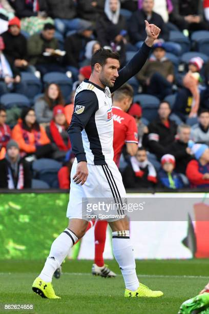 Philadelphia Union forward Chris Pontius gives a thumbs up during a game between the Philadelphia Union and the Chicago Fire on October 15 at Toyota...