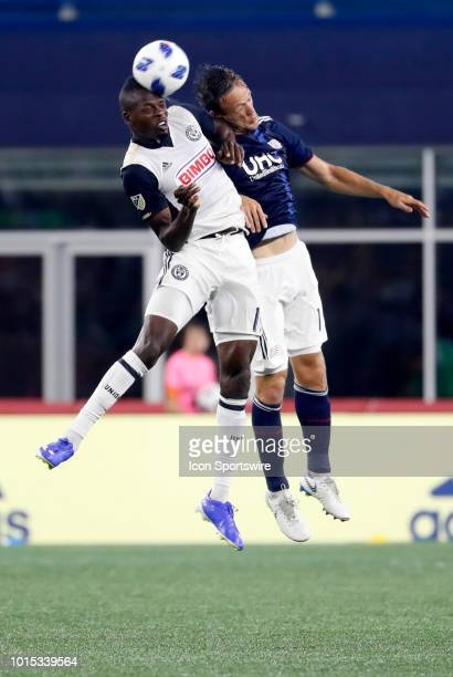 Philadelphia Union forward Cory Burke beats New England Revolution defender Antonio Mlinar Delamea in the air during an MLS match between the New...
