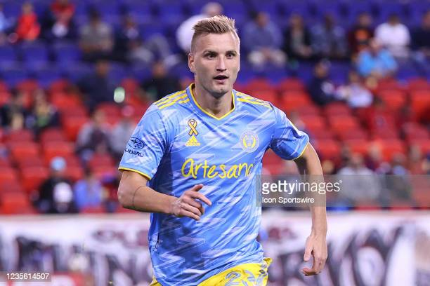 Philadelphia Union forward Kacper Przybylko during the first half of the Major League Soccer game between the New York Red Bulls and the Philadelphia...