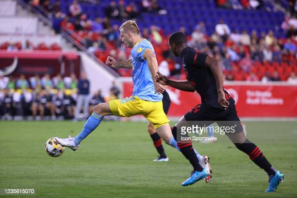 Philadelphia Union forward Kacper Przybylko during the second half of the Major League Soccer game between the New York Red Bulls and the...