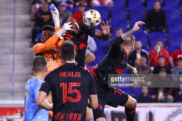 Philadelphia Union goalkeeper Andre Blake comes out for the ball during the second half of the Major League Soccer game between the New York Red...