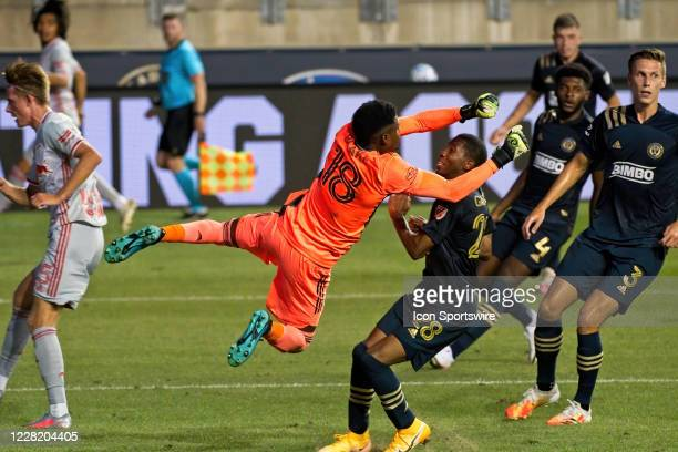 Philadelphia Union goalkeeper Andre Blake makes a diving save during the game between the New York Red Bulls and the Philadelphia Union on August 25,...
