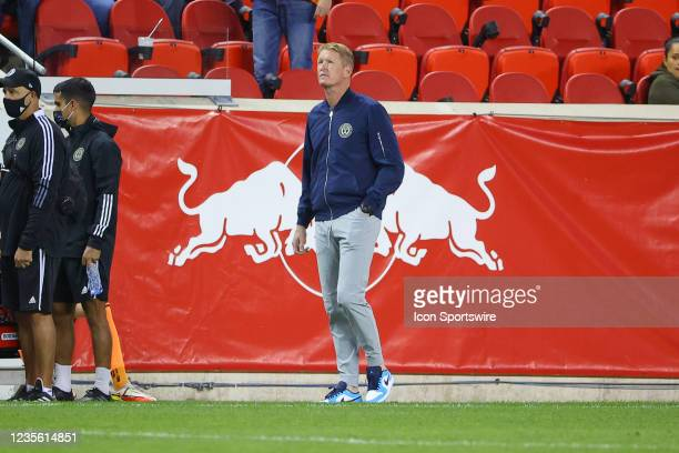 Philadelphia Union head coach Jim Curtin during the Major League Soccer game between the New York Red Bulls and the Philadelphia Union on September...