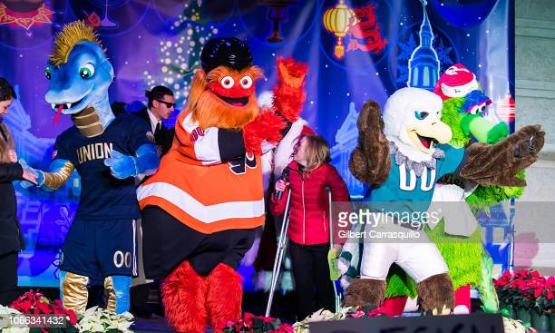 Philadelphia Union mascot Phang Philadelphia Flyers mascot Gritty City Representative Sheila Hess Philadelphia Eagles mascot Swoop and The Phillie...