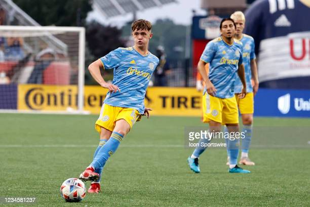 Philadelphia Union midfielder Jack McGlynn plays the ball wide during a match between the New England Revolution and the Philadelphia Union on August...