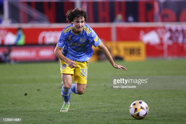 Philadelphia Union midfielder Paxten Aaronson controls the ball during the second half of the Major League Soccer game between the New York Red Bulls...