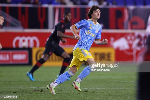 Philadelphia Union midfielder Paxten Aaronson during the Major League Soccer game between the New York Red Bulls and the Philadelphia Union on...