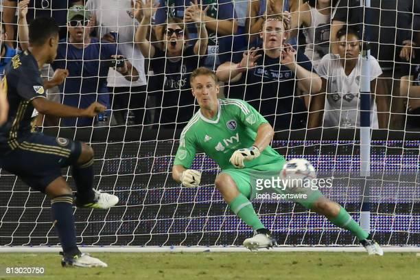 Philadelphia Union midfielder Roland Alberg scores on a penalty kick past Sporting Kansas City goalkeeper Tim Melia in the second half of an MLS...