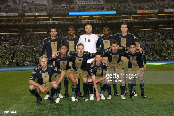 Philadelphia Union pose for a team photo before their game against the Seattle Sounders FC at Qwest Field on March 25, 2010 in Seattle, Washington.