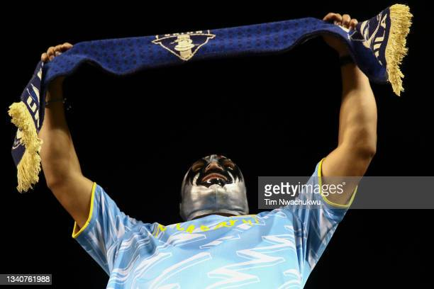 Philadelphia Union supporter looks on during the semifinal second leg match of the CONCACAF Champions League 2021 at Subaru Park on September 15,...