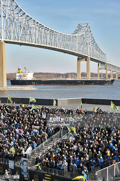 Philadelphia Union watch the field as a ship passes in the distance during the game against the Vancouver Whitecaps at PPL Park on March 26 2011 in...