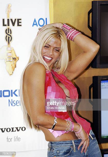 In this 02 July 2005 file photo US model and television personality Anna Nicole Smith poses for the media during the Live 8 concert at the...