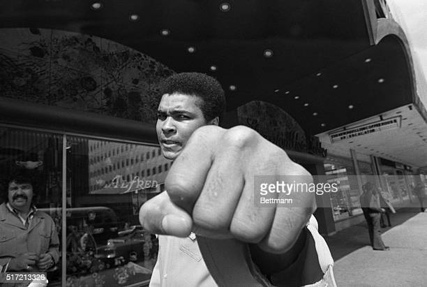 Philadelphia,PA: Muhammad Ali now 31-years old is still aiming for the heavyweight title as he shows his left fist to the camera during an interview...