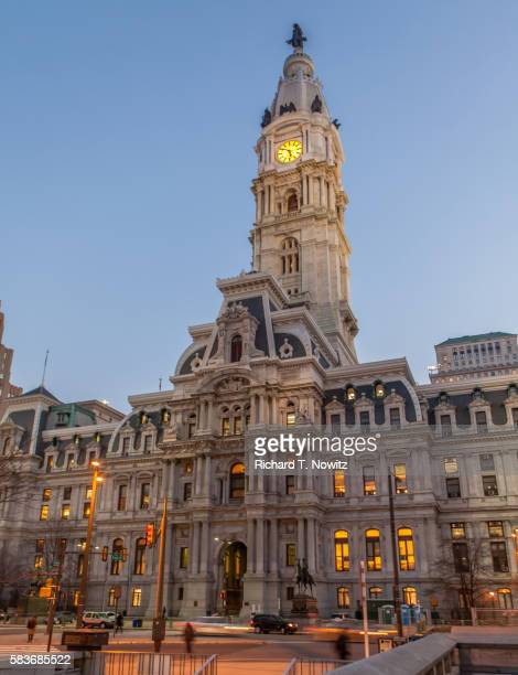 philadelphia's city hall - town hall stock pictures, royalty-free photos & images