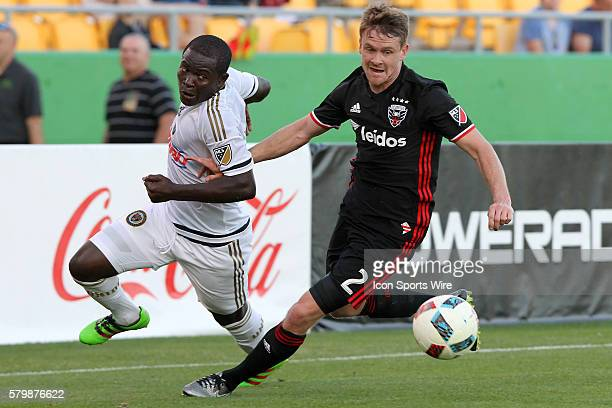 Philadelphia's Maurice Edu fights for the ball as DC United's Taylor Kemp defends during the pre-season MLS match between the D. C. United and the...