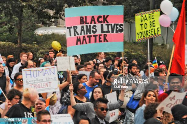 Philadelphia's Transgender community rallied in Love Park in Center City Philadelphia before marching through downtown to demand basic human and...