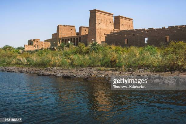 philae temple on the island, aswan, egypt - ナイル川 ストックフォトと画像
