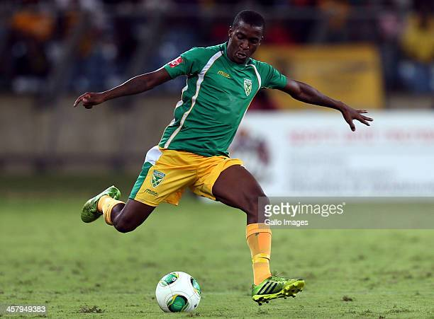 Philani Shange of Lamontville Golden Arrows during the Absa Premiership match between Golden Arrows and Kaizer Chiefs at Moses Mabhida Stadium on...