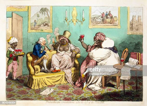 Philanthropic Consolations after the loss of the Slave Bill pub 1796 Satirical cartoon showing abolitionists William Wilberforce and Bishop Horsley...