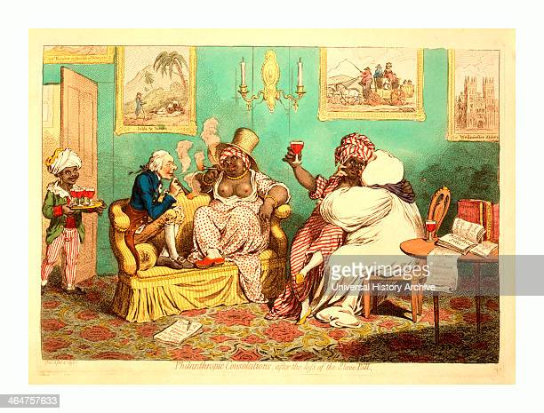 Philanthropic Consolations, After The Loss Of The Slave-bill, Gillray, James, 1756-1815, Engraver 1 Print : Etching, Hand-colored, William...