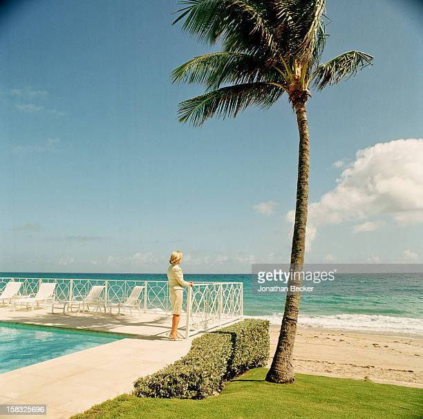 Philanthropist Alyne Massey is photographed for Vanity Fair Magazine on February 21 2003 at home on South Ocean Boulevard in Palm Beach Florida...