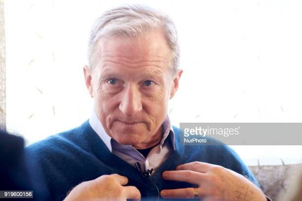 Philanthropist and activist Tom Steyer talks about his Impeach Trump campaign in Philadelphia PA on February 17 2018 Tom Steyer runs NextGen America...