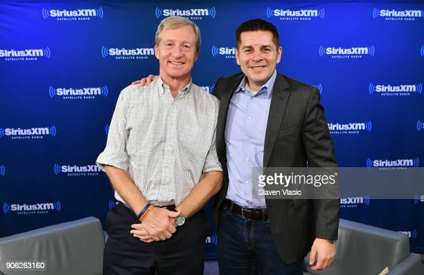 Philanthropist and Democratic activist Tom Steyer and host Dean Obeidallah pose for photo at SiriusXM's Progress channel at SiriusXM Studios on...
