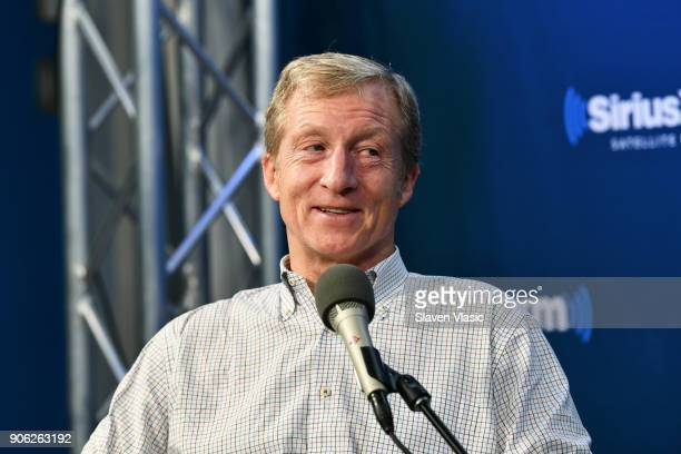 Philanthropist and Democratic activist Tom Steyer discusses his political future at SiriusXM's Progress channel at SiriusXM Studios on January 17...