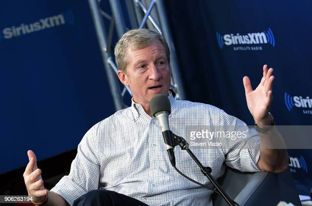 Philanthropist and Democratic activist Tom Steyer discusses his political future at SiriusXM's Progress channel at SiriusXM Studios on January 17...