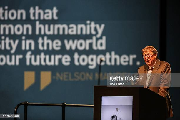 US Philanthropist and entrepreneur Bill Gates lays out his vision for a better world during the 14th Nelson Mandela Annual Lecture at the University...