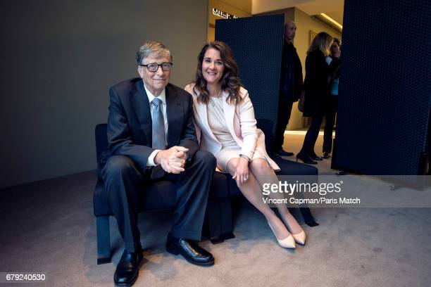 Philanthropist and founders of the Bill Melinda Gates Foundation Bill Gates and Melinda Gates are photographed for Paris Match on April 21 2017 in...