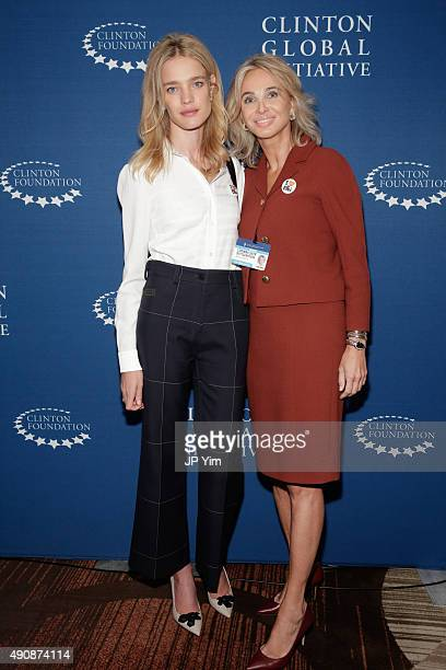 Philanthropist and model Natalia Vodianova and Corinna SaynWittgenstein Strategic Advisor at CGI pose for a photograph before the closing session at...