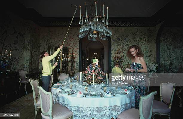 Philanthropist Ann Getty the wife of millionaire oil tycoon Gordon Getty with two of their four sons Andrew 1967 2015 left and Billy at their home in...