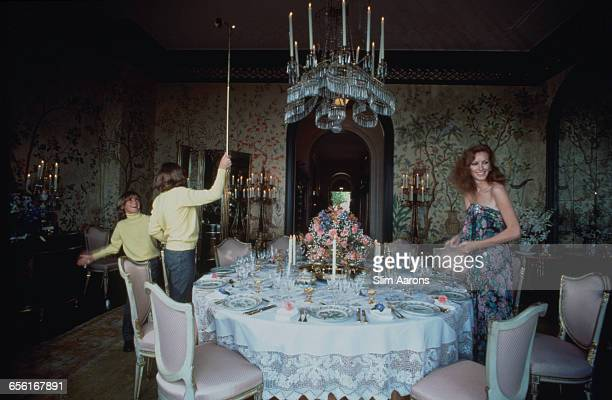 Philanthropist Ann Getty the wife of millionaire oil tycoon Gordon Getty with two of their four sons Andrew 1967 2015 centre and Billy at their home...