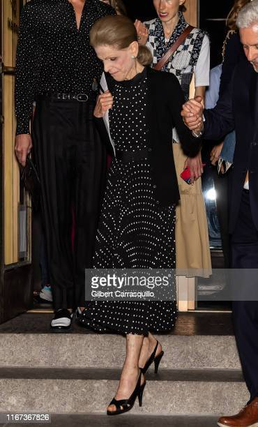 Philanthropist Annette de la Renta is seen leaving Oscar de la Renta fashion show during New York Fashion Week on September 10 2019 in New York City