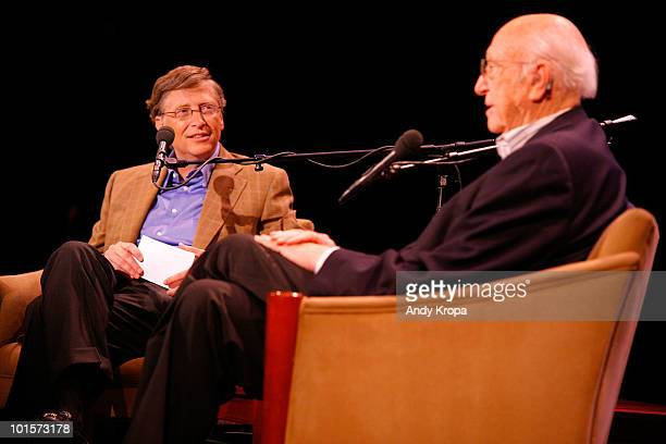 Philanthropist Bill Gates and his father Bill Gates, Sr. Attend Bill Gates: A Conversation with My Father at the 92nd Street Y on June 2, 2010 in New...