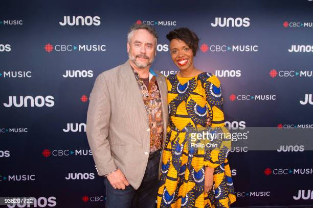 Philanthropist Brett Wilson and singer KelleyLee Evans attend the red carpet arrivals at the 2018 Juno Awards at Rogers Arena on March 25 2018 in...
