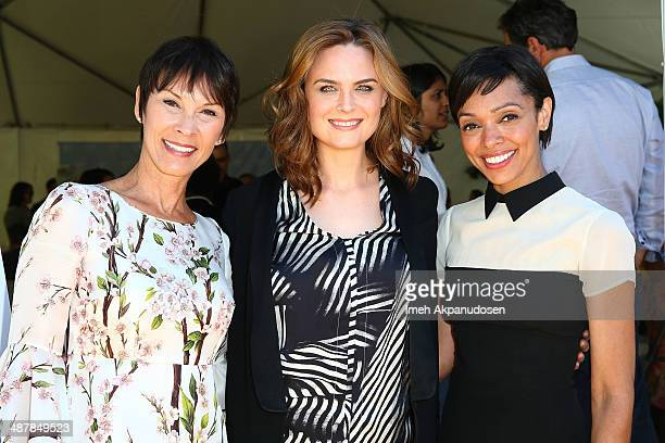 Philanthropist Cheryl Saban actresses Emily Deschanel and Tamara Taylor attend The Rape Foundation's groundbreaking ceremony for construction of a...